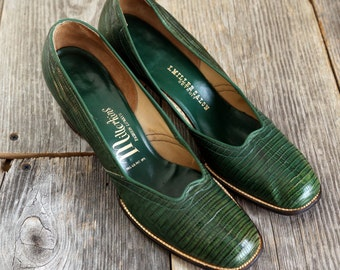 SALE - Green Leather Shoes . High Heel Reptile Pumps