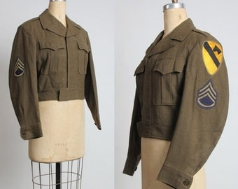 ON SALE 1950s US Cavalry Jacket with Patches.  Mid Century