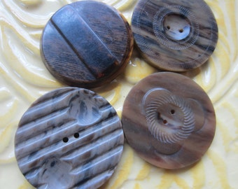 Vintage Buttons - Brown novelty styles, extra large buttons, lot of 4 Bakelite, old and sweet ( june 72c  )