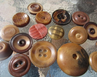 Vintage Buttons - Cottage chic lot of 17 brown, vegetable ivory novelty (oct 296)