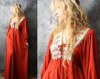 Vintage Dress Bohemian Hippie Renaissance Fair Dress Lace Up Tapestry Roses Trim Balloon Sleeve Majik Horse 1970s Dress