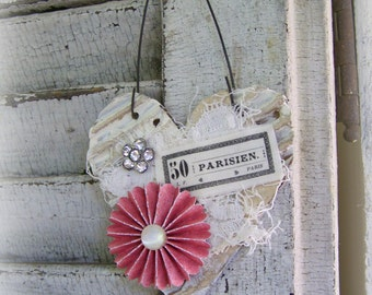 Shabby White Decor  French Heart Ornament Vintage Paris Vintage Mixed Media Cottage Style Heart Wall Hanging Antique Paper Heart Ornament