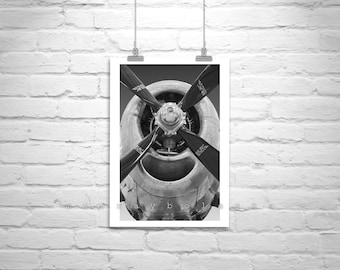 Propeller Airplane Art, Black and White Photo, Pilot Gift, Aviation Photography, Aircraft Print, Aeronautical Art, Superfortress, Air Force