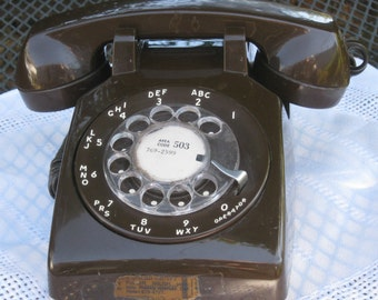 Vintage ITT Brown Rotary Phone with Fuller Brush Company Label