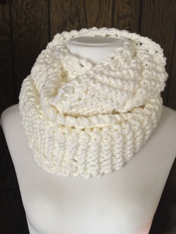 Outlander Inspired Hand Knit Infinity Scarf with Eyelet Braid Detail White Cowl Scarf