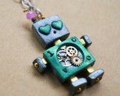 Aqua LOVE Robot Necklace