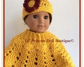 """Doll Clothes, Made To Fit American Girl Josefina, Crochet Gold and Burgundy Poncho Set, 18""""Inc Doll Clothes"""