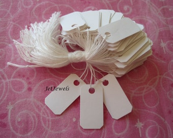 100 White Tags, Jewelry Price Tags, Hanging Tags, Price Tag, Small Price Tags, Necklace Tags, Clothes Tags, Clothing Tag 1/2 x 1 inch