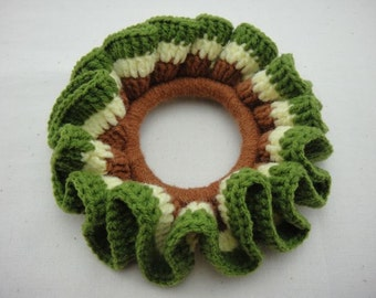 BUY 1 FREE 1 - Crochet Scrunchies - Yellow, Brown and Green (SC4)