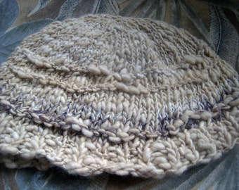 """Handspun Hat, Fine Merino Wool Naturally Dyed, Variegated Straw Color, Knit Art Yarn, Soft, Winter Hat, 22""""x7, Sits Loosely on Head, Cozy"""