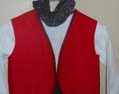 Aladdin Vest, Red w piping.
