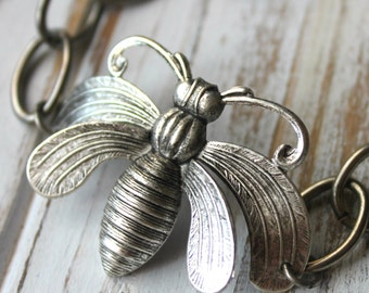 FREE shipping. Antiqued Silver Bee Bracelet