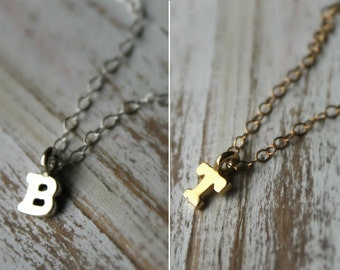 FREE Shipping - Personalized Tiny Letter Initial. Your choice of Sterling Silver or 14K Gold Initial Necklaces. Bridesmaid Discount