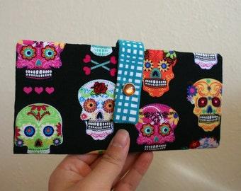 Day of the Dead - Sugar Skulls - Long Wallet Clutch - Card Slots, Zipper, Cash