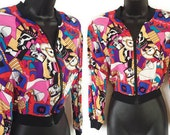 80s 90s Bright Colorful Geometric Print Comic Strip Cartoon Graphic Art Rayon Jacket M