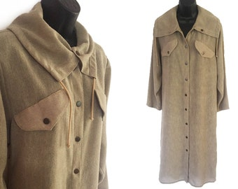 70s 80s Khaki Semi Sheer Shirt Dress M L