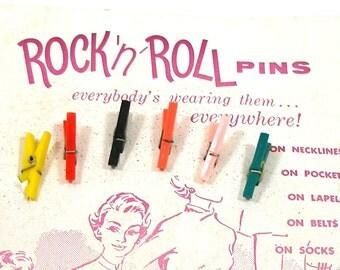50s Mini Clothes Pins, Rock 'n Roll pins, vintage ephemera.
