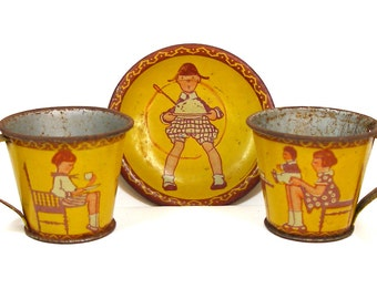 1930s Tin Toy Tea Set, Tea Party Kids, Made in Germany. Scarce.