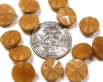 "1900s Mini Antique BUTTONS, 13 Embossed vegetable ivory in beige, 3/8""."