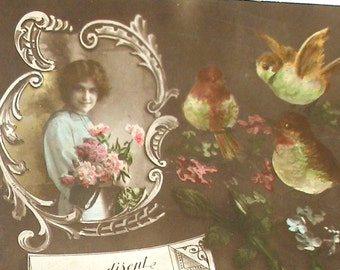 1910s French postcard, Lady with birds & flowers, RPPC real photo postcard.