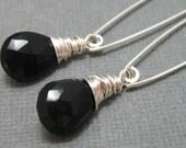 ON SALE - Black onyx broilette drop earrings with handmade sterling ear wire, Long black gemstone dangle earrings