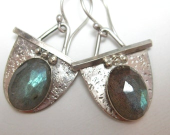 Faceted Labradorite and Sterling Silver Drop Earrings, Artisan Handcrafted Sterling Silver Earrings by Liz Blanchflower