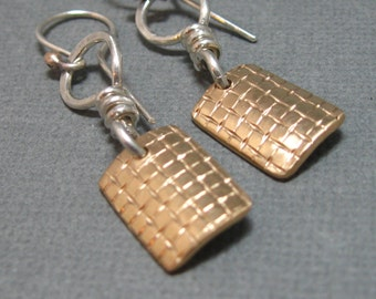Mixed metal sterling silver and gold filled patterned dangle earrings with silver accent, hand forged earrings in mixed metals