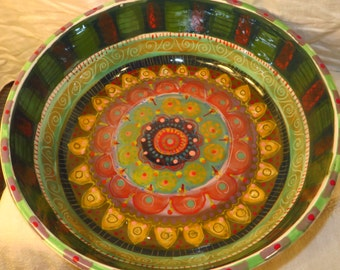 Platter, Serving Bowl,Large, Ceramic  Brightly Colored, Beautifully Patterned