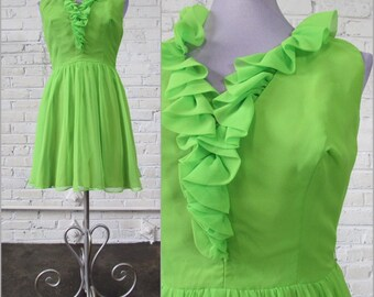 1960s apple green chiffon dress with ruffle neckline, size S