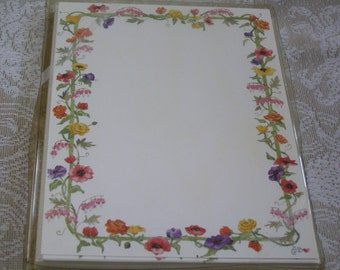 Susan Branch Watercolor Floral Garden Design Vintage 10 Cards & Envelopes Acid Free Paper