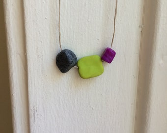 Grey, Green and Purple Necklace