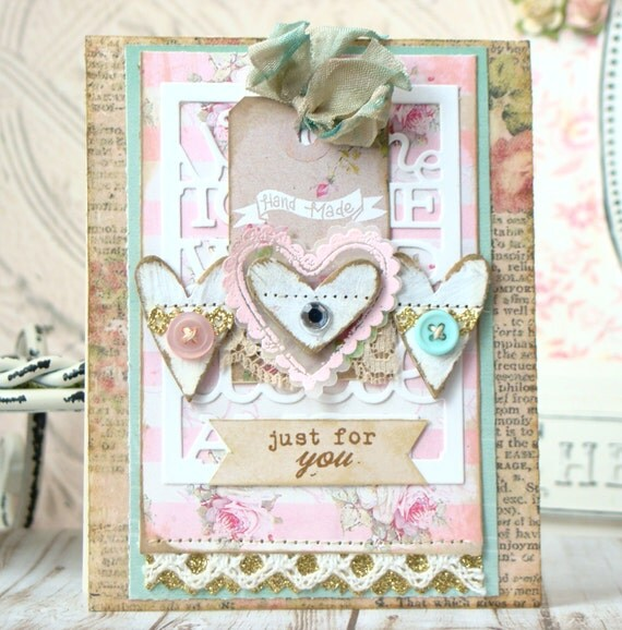 Handmade Just For You Shabby Chic Card