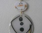 Tall Signed Stephen Dalton Modernist Snowman Pin Pendant Articulated