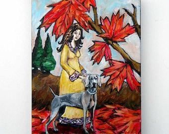 Weimaraner Art, Original Painting, Dog and Owner, Acrylic on Canvas, Dog Artwork, Fall Art, Autumn Trees, Dog Lover Gift, Northwest Artwork