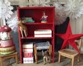 Vintage Solid Wood Primitive Bookcase Free Standing Cabinet Shelf