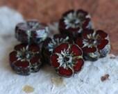 CHERRY BLOOMS No. 2 .. 6 Picasso Czech Glass Flower Beads 10mm (5073-6)