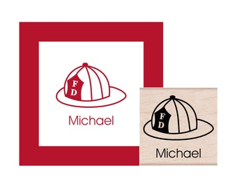 Fireman Hat Personalized Rubber Stamp