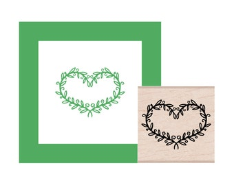 Leaves Heart Rubber Stamp