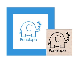 Elephant Personalized Rubber Stamp
