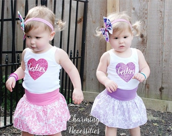 Toddler Girl Clothes, Besties Heart Glitter Tank Top, Toddler Girl Boutique Clothing Sparkle Shirt You CHOOSE from 15 Glitter Colors