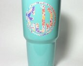 Powder coated Yeti cup - Teal - 30 oz. Rambler - with Lilly Pulitzer inspired vinyl monogram