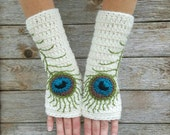 Fingerless Gloves with Peacock Feathers, Wool Armwarmers, Wool Fingerless Gloves Womens Gloves, Arm warmers, Cream Teal, MADE TO ORDER