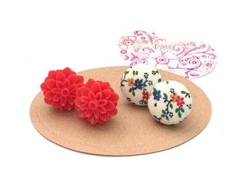 Fabric Button Earring, Flower Print Earrings, Vinatge Fabric, Post Jewelry, Stud Earrings, Red Flower Earrings, Mothers, Day Gift Set