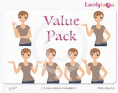 Character value pack, woman avatar digital PNG clipart (Ellen VP13)