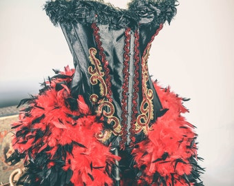 The Queen of Hearts Burlesque Feather Corset Costume M