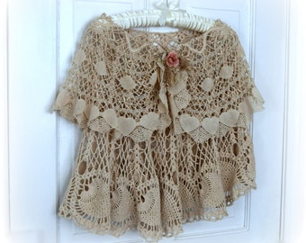 Cape, Shawl, Poncho made of Vintage Lace and Crochet in Layers Very Shabby, Romantic, Feminine