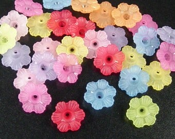 CLEARANCE Lucite Beads Bell Daisy 100 Flower 6-Petal Frosted Mix 12mm x 4.5mm (1026luc12m5)os