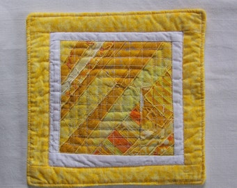 Scrappy Modern  Yellow  and White Mug Rug Coaster or Mini Quilt #4