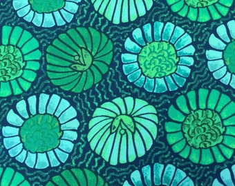 Victoria and Albert Fabric by the Yard - Godwin - Bloom in Pool - Quilter's Cotton