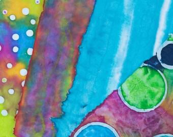 Handmade Paper Fiber Art Colorful Painted Paper Abstract Batik 11x14 Blue Striped Bold Colors White Dots Circles Acrylic Paints DIY Supplies
